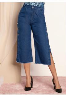 Calça Jeans Médio Com Botões Laterais E Bolsos