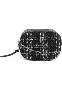 Bolsa Capodarte Mini Bag Transversal Tweed Feminina - Feminino-Preto