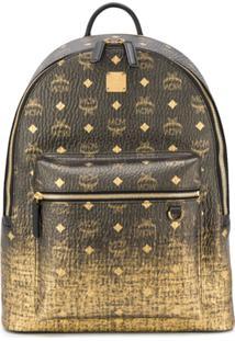 Mcm Logo Print Back Pack - Dourado