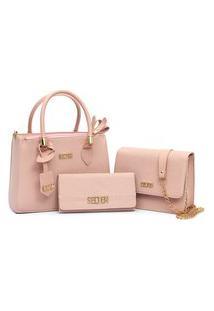 Bolsa Feminina Transversal Kit 3 Em 1 Selten Rosa
