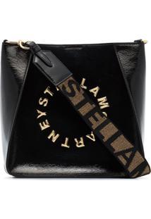 Stella Mccartney Bolsa Transversal Envernizada Preta Com Logo - Preto