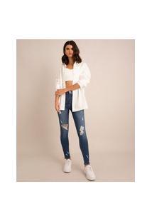 Calça Skinny Jeans Push Up Destroyed Cintura Super Alta Sawary Azul Médio