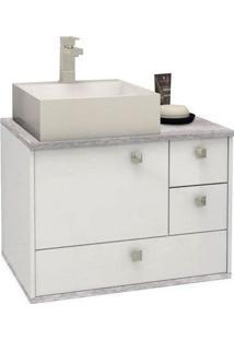 Gabinete Para Banheiro 60Cm Mdf Moema Branco Com Calcare Sem Cuba 60X43,8X42,5Cm - Cozimax - Cozimax