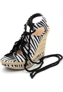 Sandália Anabela Salto Alto Confort Zebra