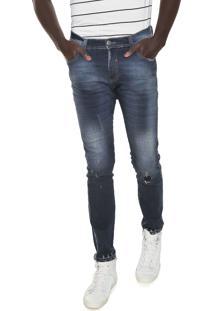 Calça Jeans Local Skinny Destroyed Azul