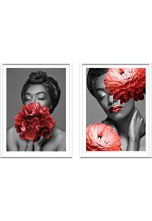 Quadro 67X100Cm Brenna Mulher Com Flores Vermelha Nórdico Moldura Branca Com Vidro