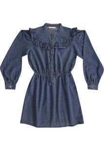Vestido Azul Escuro Babados