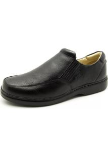Sapato Couro Doctor Shoes Comfort 410 Elástico Preto