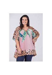 Blusa De Lenço Com Decote V Em Tecido Com Elastano Estampado- Plus Size