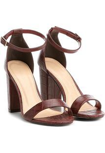 Sandália Couro Shoestock Salto Grosso Feminina - Feminino-Bordô