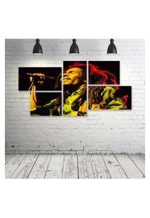 Quadro Decorativo - Bob-Marley-Feeling - Composto De 5 Quadros