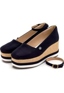 Tênis Anabela Mr Shoes Aberta Salto Médio Confortavel 170407 - Azul Marinho