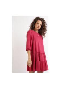 Vestido Feminino Curto Com Babados Manga Longa Bufante Decote Redondo Vermelho