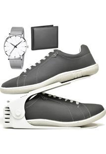 Kit Sapatênis Sapato Casual Com Organizador, Carteira E Relógio Clean Dubuy 900Db Cinza - Kanui
