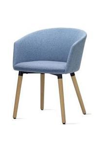 Poltrona Pix Assento Mescla Azul Base Fixa Em Madeira - 55349 Azul