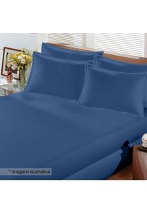 Lençol Image Rolinho Queen Size- Azul Marinho- 35X15Buettner