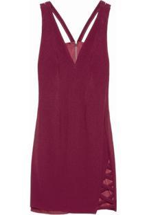 Vestido Curto Decote V Morena Rosa - Vinho