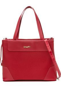 Bolsa Feminina Dhaffy, Grande Alã§A De Mã£O E Transversal Vermelho - Vermelho - Feminino - Dafiti