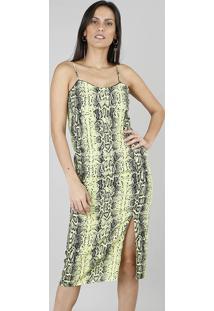 Vestido Feminino Midi Estampado Animal Print Com Fenda Verde Neon