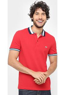 Camisa Polo Lacoste Piquet Slim Fit Gola Contraste Masculina - Masculino
