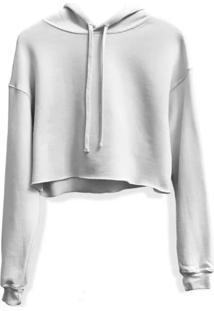 Moletom Feminino Blusa Cropped Liso Com Capuz Branco