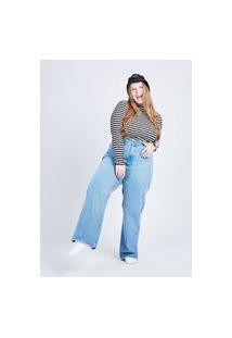 Calça Jeans Wide Leg Blue Médio Gang Plus Size Feminina