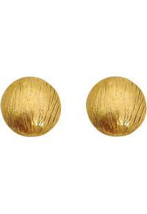 Par De Brincos Arredondado Banhado A Ouro- Dourado- Vincenzo Di Fiori