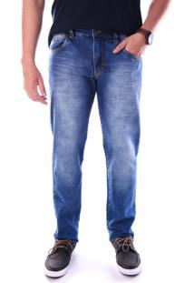 Calça Jeans Traymon Bolso Porta Celular Slim Azul Indigo