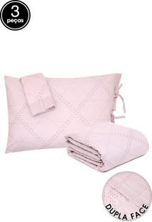 Kit Colcha 3Pçs King Buddemeyer Confort Petit Rosa