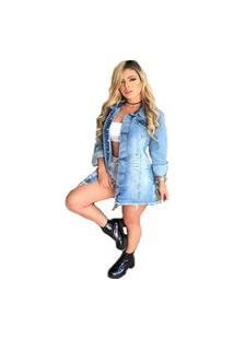 Jaqueta Lele Jeans Max Azul