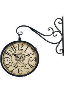 Relógio De Parede Decorativo Com Suporte - Face Dupla - Estação Ferroviária De Paris R3P Import