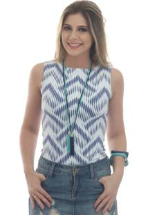 Regata Ficalinda Estampa Exclusiva Summer Ikat Azul Marinho Decote Canoa
