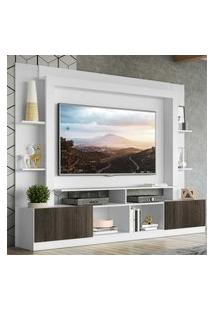 """Rack Estante C/ Painel Tv 65"""" E 2 Portas Oslo Multimóveis Branco/Tenerife"""