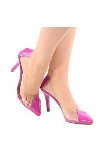 Scarpin Zhaceci Salto Alto Recorte Tranparente Pink