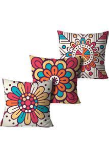 Kit 3 Capas Para Almofadas Decorativas Love Decor Mandalas Multicolorido Laranja - Kanui