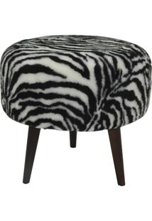 Puff Redondo Decorativo Tecno Mobili Pf7002 Base Castanho/Estampa Zebra