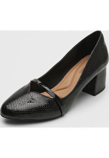 Scarpin Dafiti Shoes Textura Preto - Preto - Feminino - Sintã©Tico - Dafiti