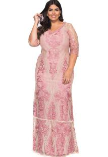 Vestido Almaria Plus Size Pianeta Tule Rosa