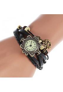 Relógio Feminino Quartzo Com Pingente Trevo De Quatro Folhas - Preto