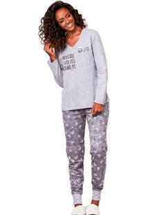 Pijama De Inverno Com Algodão Luna Cuore - Feminino-Cinza