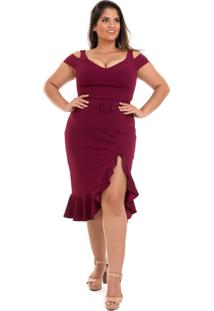 Vestido Midi Izad Em Malha De Crepe Decote V Plus Size Vinho