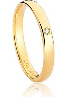 Aliança De Ouro 18K Abaulada Anatômica Com Diamante (2,50Mm)
