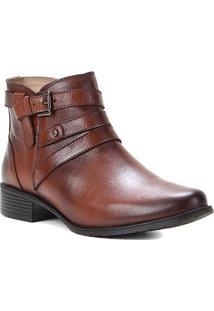 Bota Couro Shoestock Flat Fivelas Feminina - Feminino