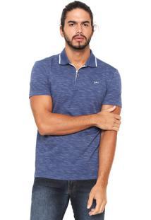 Camisa Polo Yachtsman Meio Zíper Azul