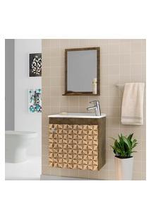 Gabinete Para Banheiro Siena Com Cuba E Espelheira Madeira Rústica 3D Bechara