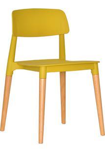 Cadeira Em Plástico Pp E Madeira De Faia - P&W-0018E - Mostarda - Orb