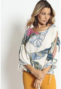 Blusa Ampla Com Vazados - Off White & Azul - Morena Morena Rosa