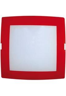 Plafon Sobrepor Attena Quadrado Pequeno 21Cm Em Vidro Com Borda – Vermelho