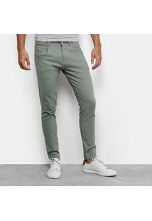 Calça Skinny Biotipo Color Sarja Masculina - Masculino-Verde