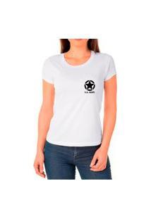 Camiseta Feminina Algodão Básica Estrela Macia Confortável Branco